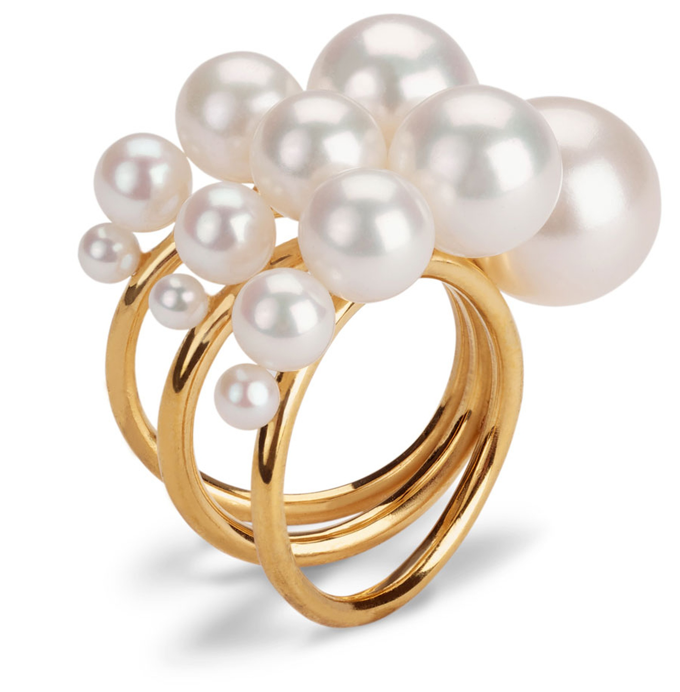 Melanie Georgacopoulos Triple-Shell-Ring-Ascending-Pearls