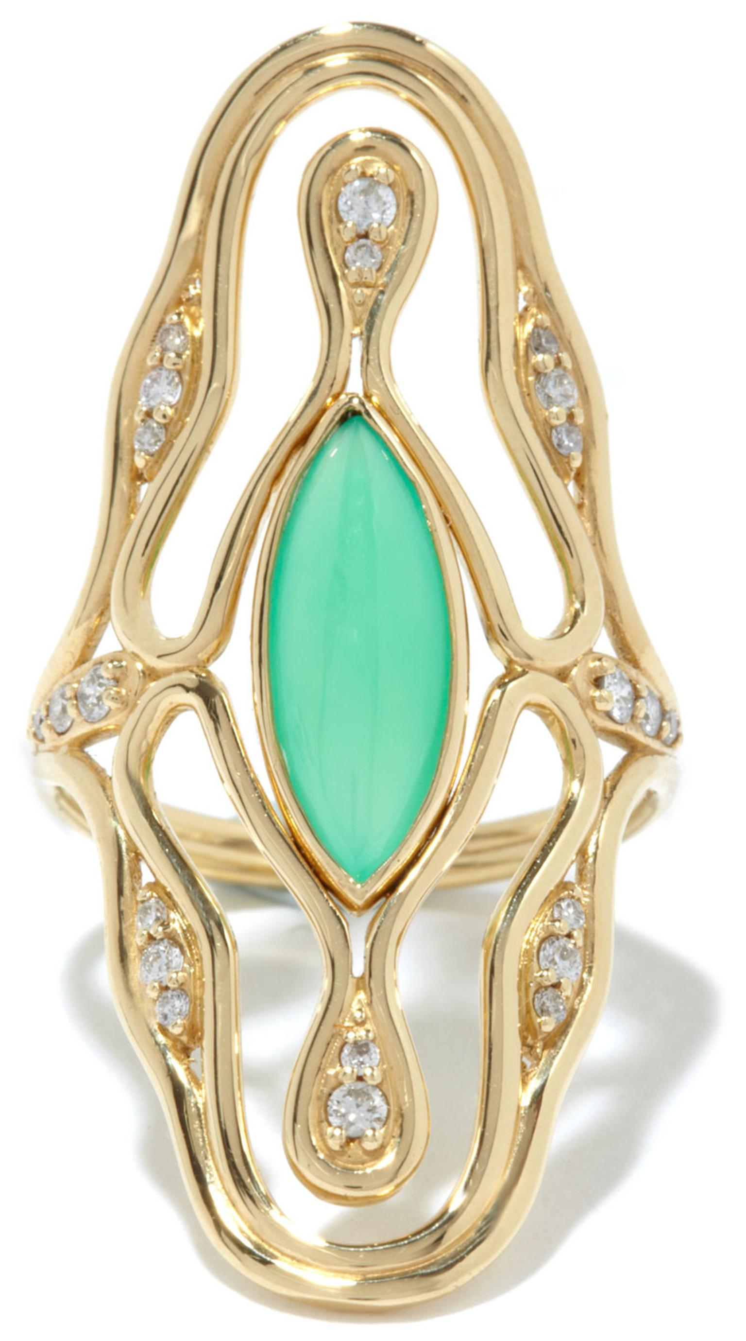 Fernando Jorge Fluid Diamonds Chrysoprase Ring
