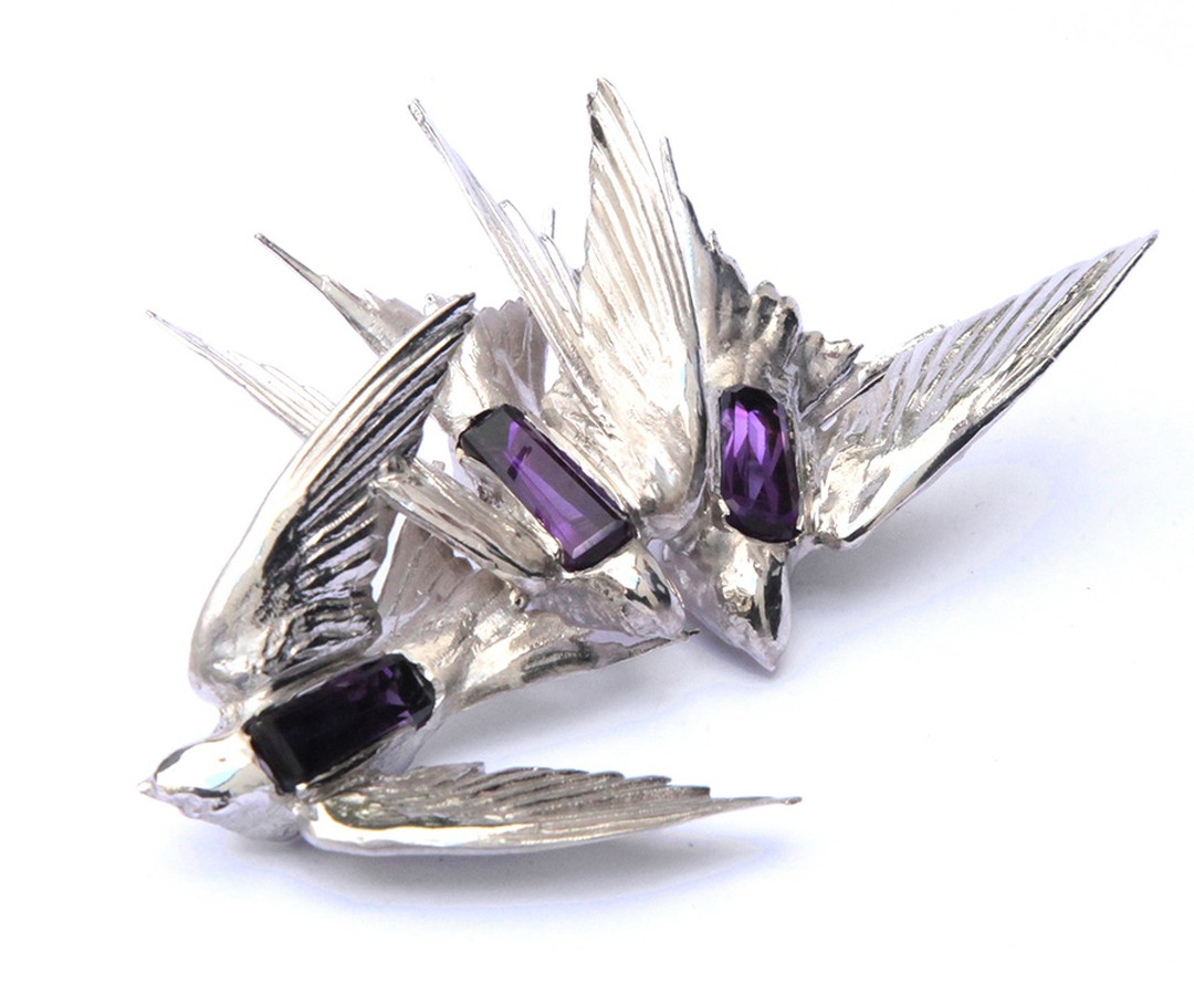 Jordan Askill Intercepted Swallows brooch with amethyst