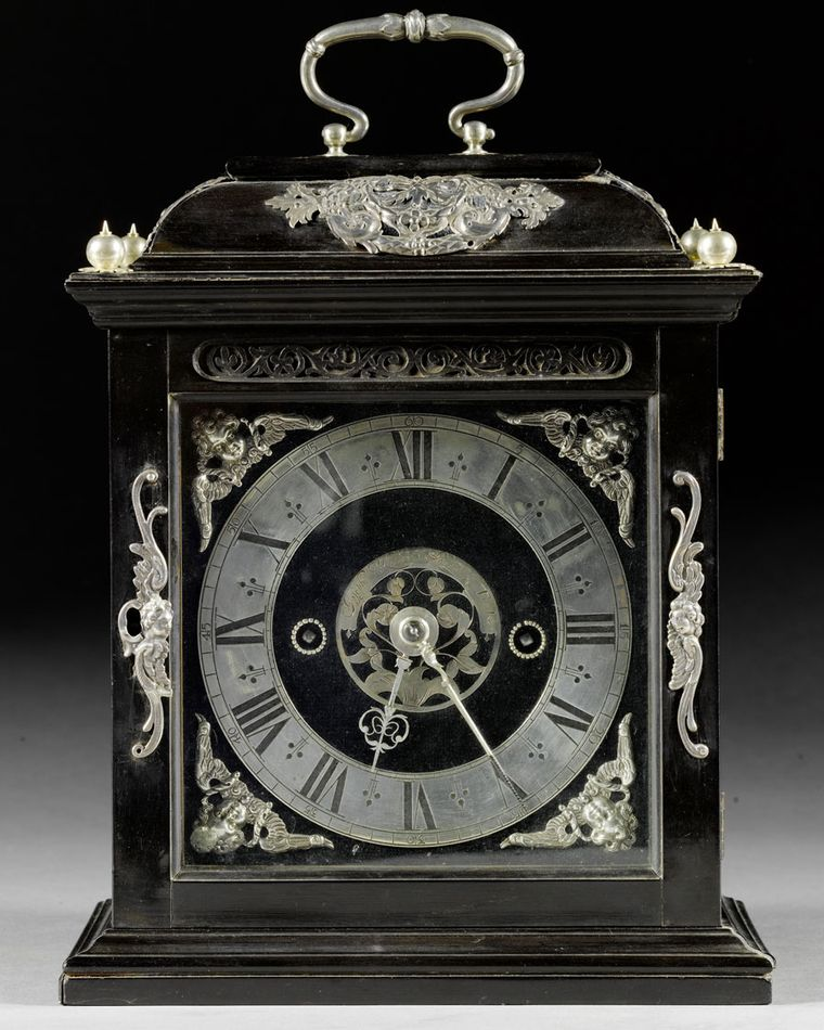 George Daniels Joseph Knibb Silver-Mounted Ebony Roman Striking Table Clock, 1677