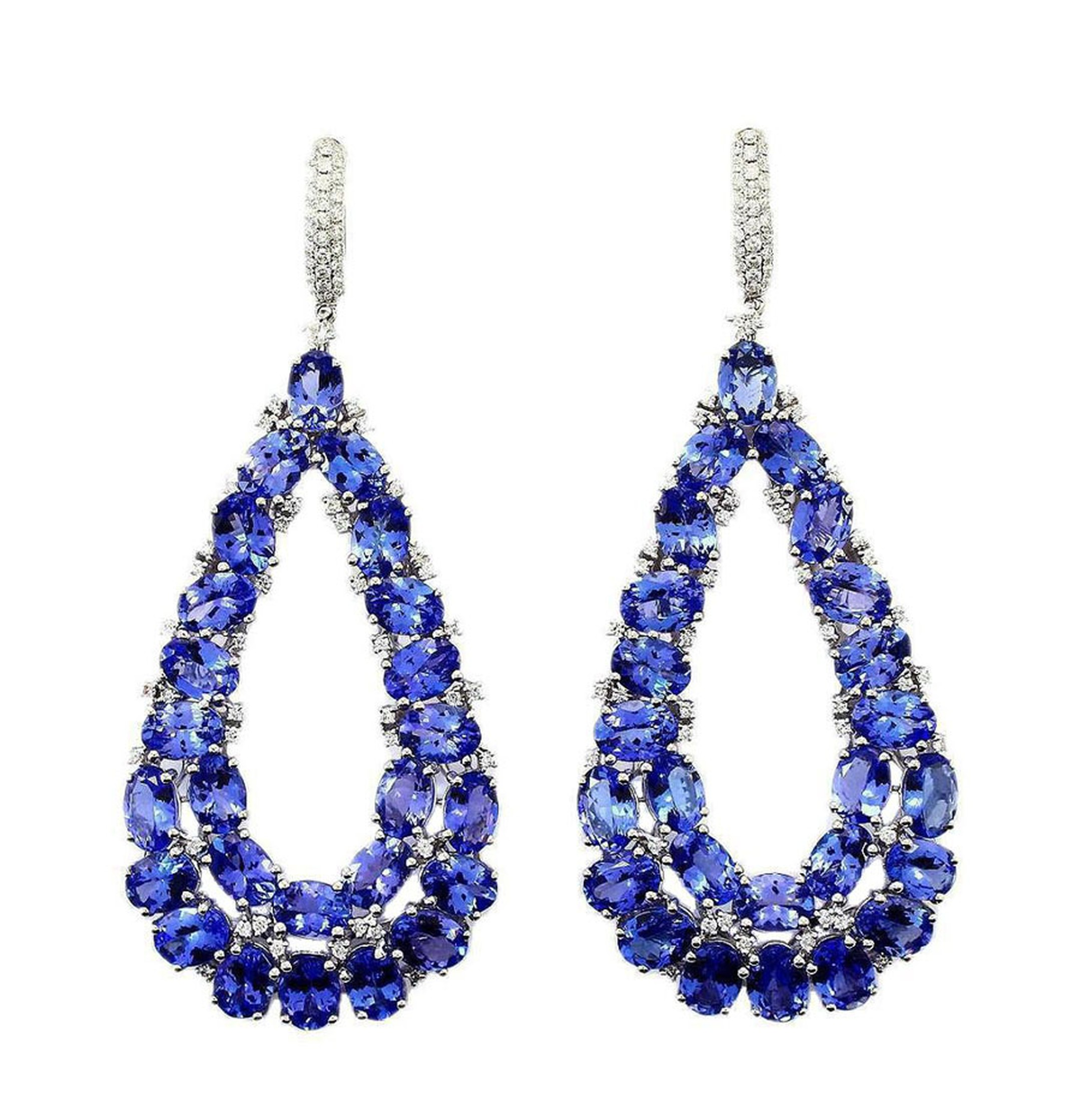 TanzaniteOne Empress earrings showcasing over 50 blue-violet tanzanite stones.