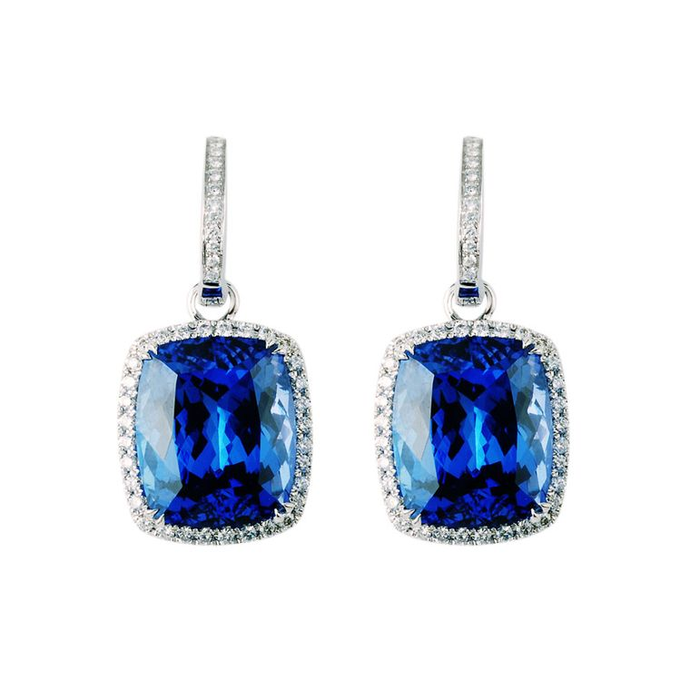 TanzaniteOne Josephine earrings with two cushion cut tanzanite stones surrounded by pavé diamonds.