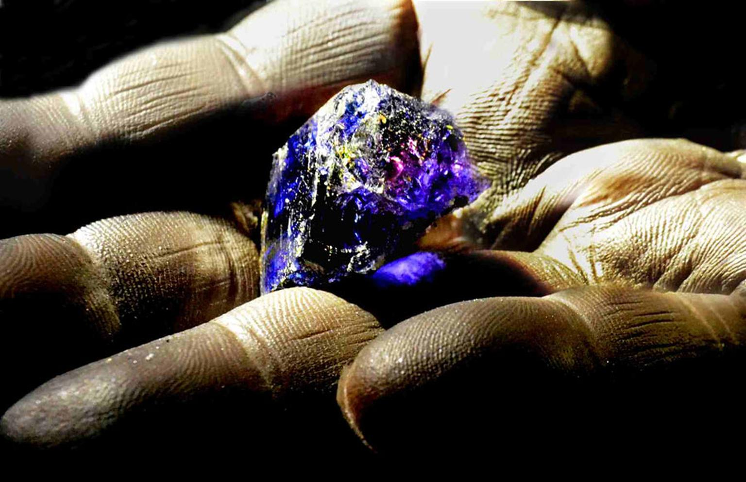 "Rough tanzanite photographed deep underground at TanzaniteOne, illustrating ""pleochrism"": the unique ability to show separate blue and violet hues simultaneously."