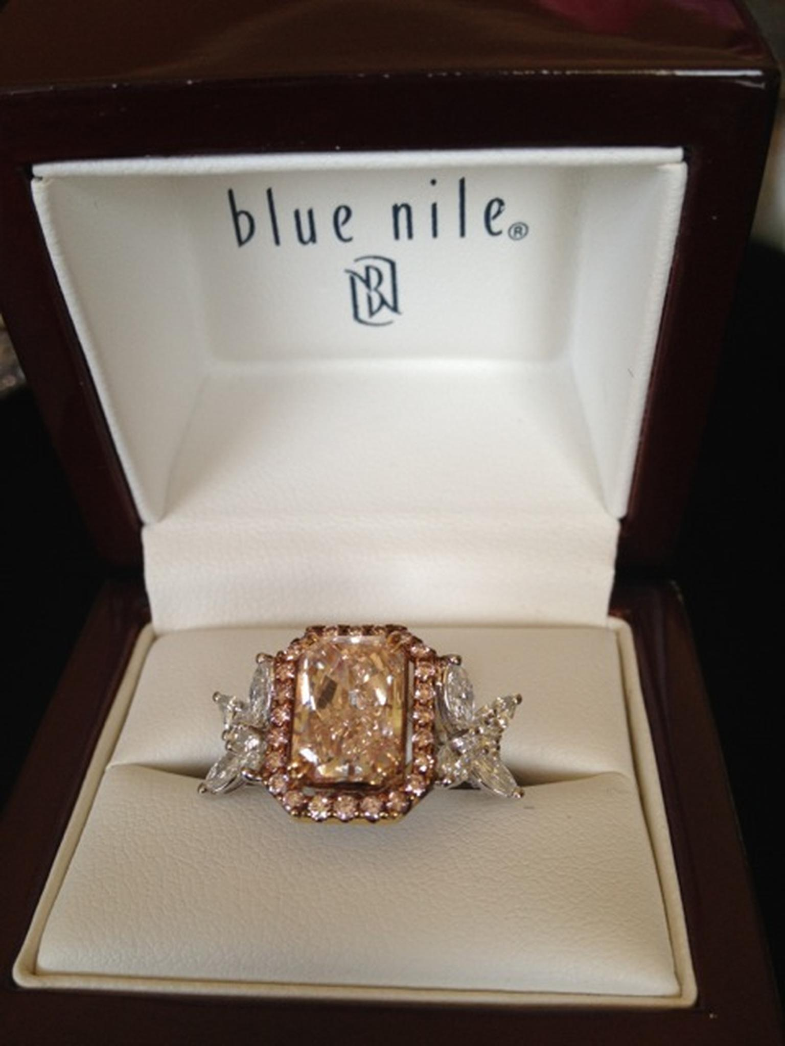 Blue Nile pink radiant diamond ring