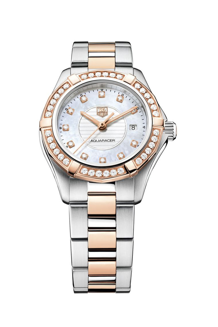 TAG Heuer Lady Aquaracer 27mm watch with diamond dial, diamond bezel and H-link bracelet in steel and rose gold.