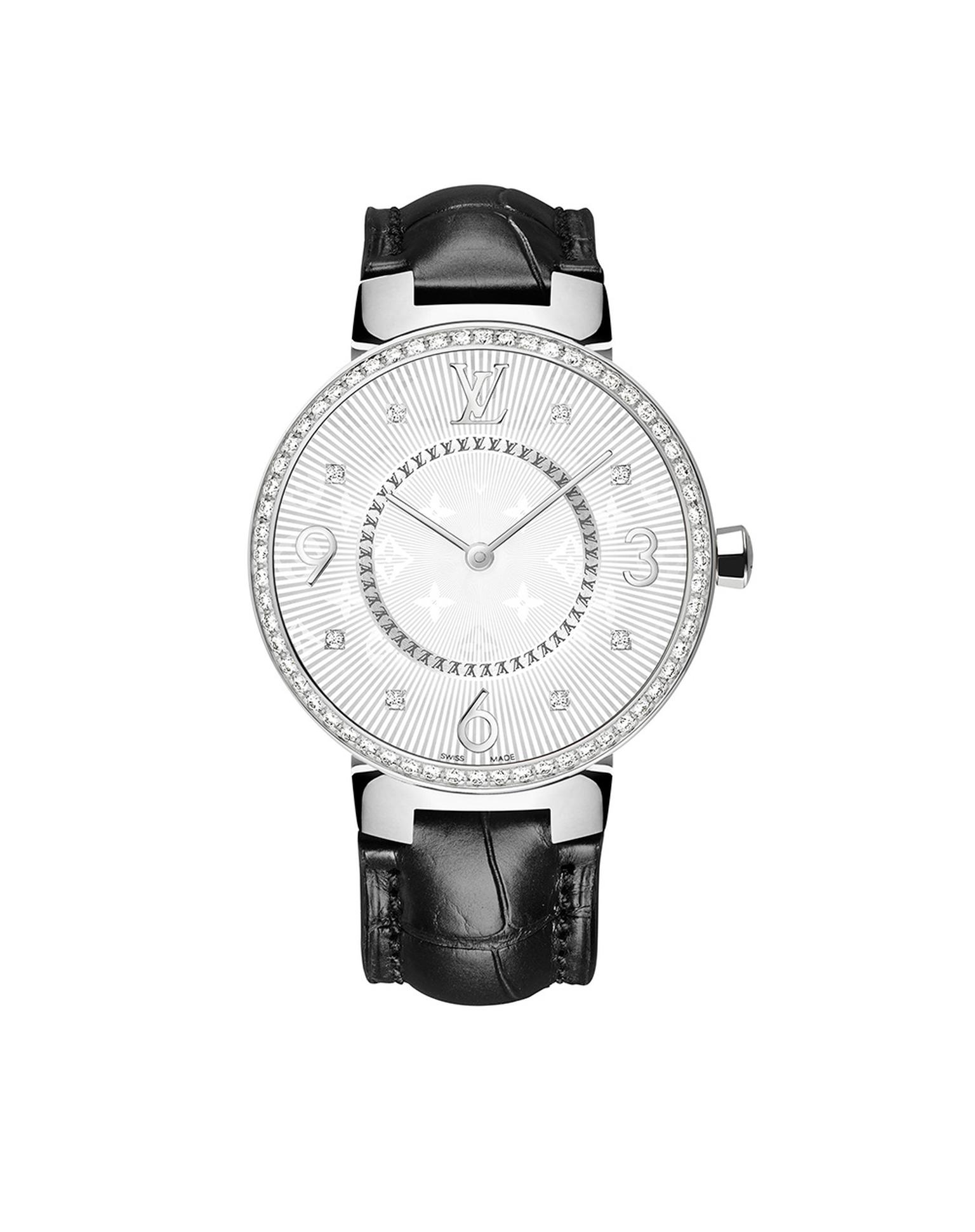 Louis Vuitton Tambour Monogram Acier Serti 33mm watch with a steel case, diamond-set bezel with a quartz movement on a black alligator strap. © LOUIS VUITTON. Auteur: I REEL.