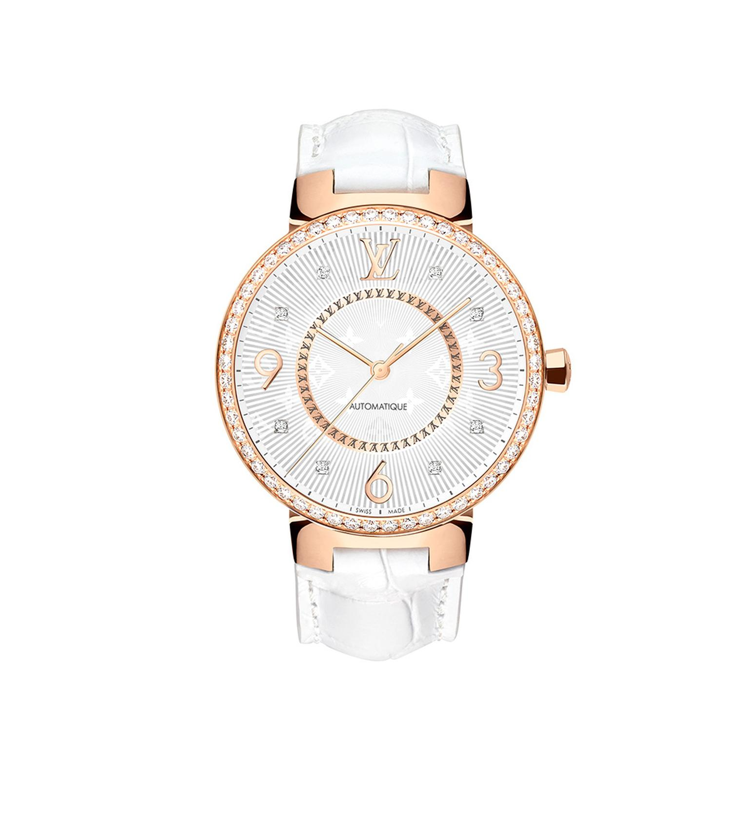 Louis Vuitton Tambour Monogram Or Rose Serti 35mm watch with a pink gold case, diamond-set bezel with an automatic movement on a white alligator strap. © LOUIS VUITTON. Auteur: I REEL.