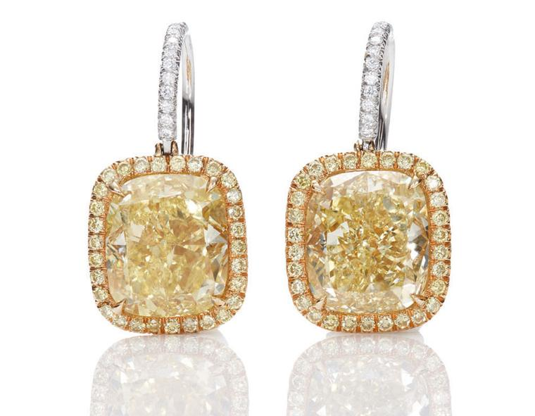 Harry-Winston-Jessica-Chastain-Yellow Diamond Drop Earrings