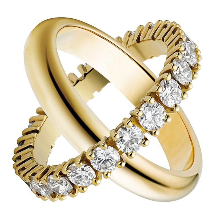Cartier  Wedding rings - Wedding ring, yellow gold paved with brilliant-cut diamonds; Wedding ring, yellow gold. Please credit all as © Cartier