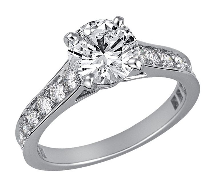Cartier Paved Solitaire 1895 - Platinum paved with brilliant-cut diamonds, central brilliant-cut diamond