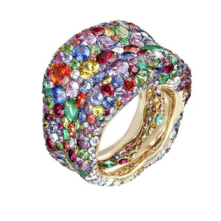 Fabergé Emotion ring pavé set with multi-coloured gemstones.