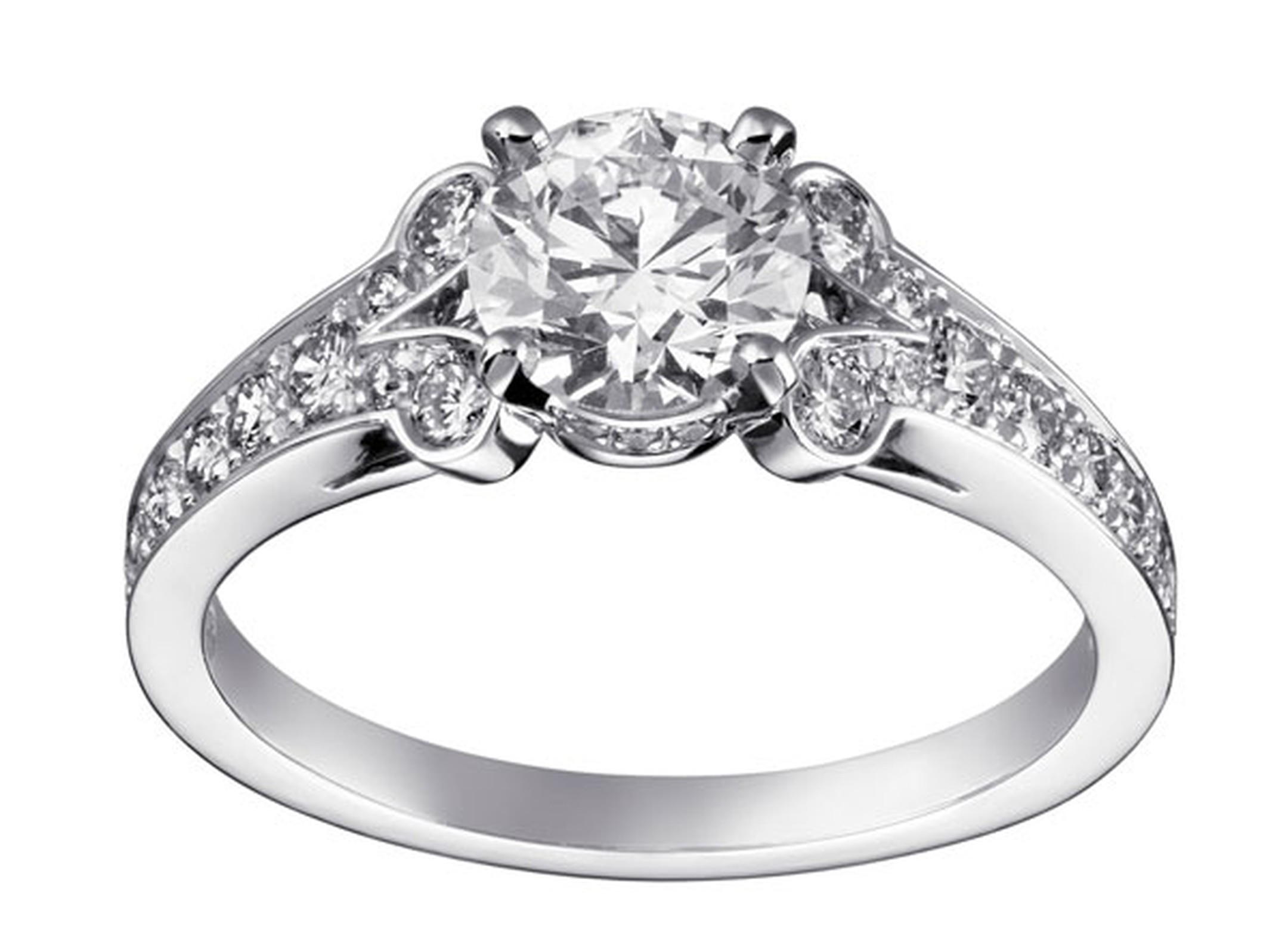Cartier. 'Ballerine solitaire' - Platinum paved with brilliant-cut diamonds, central brilliant-cut diamond