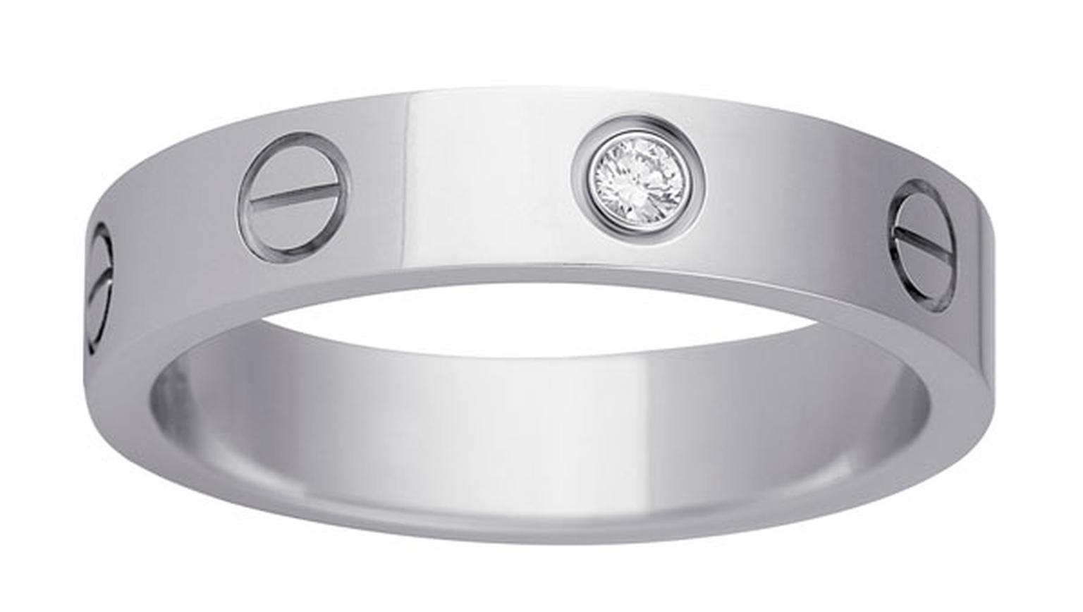 Cartier. LOVE wedding ring  - White gold, 1 diamond