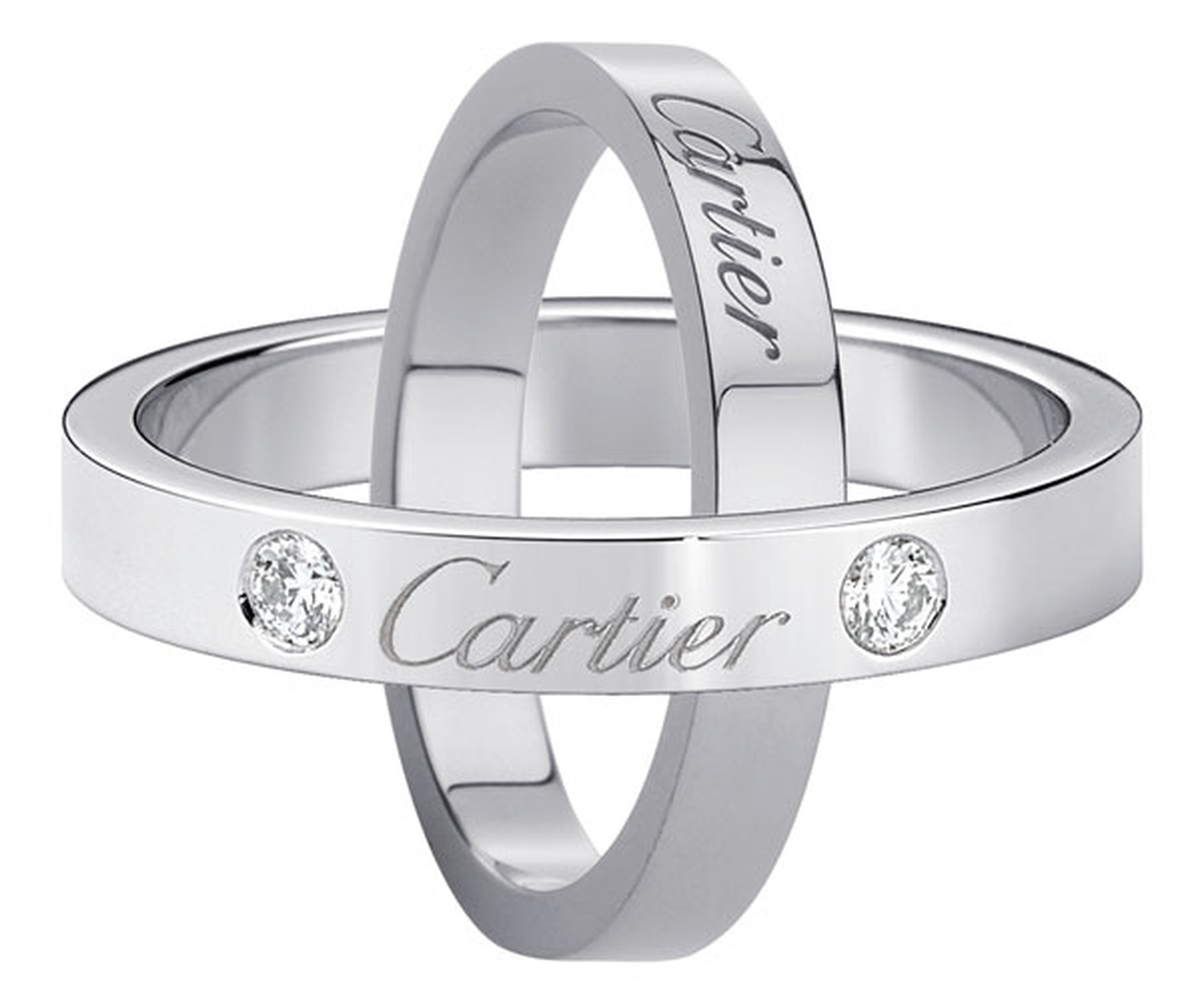 Cartier. Wedding rings engraved with Cartier  - Wedding ring engraved with Cartier, platinum, 2 diamonds; Wedding ring engraved with Cartier, platinum