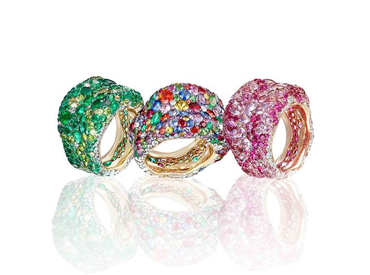 The new Emotion rings by Faberge are a dazzling cocktail of pave gemstones