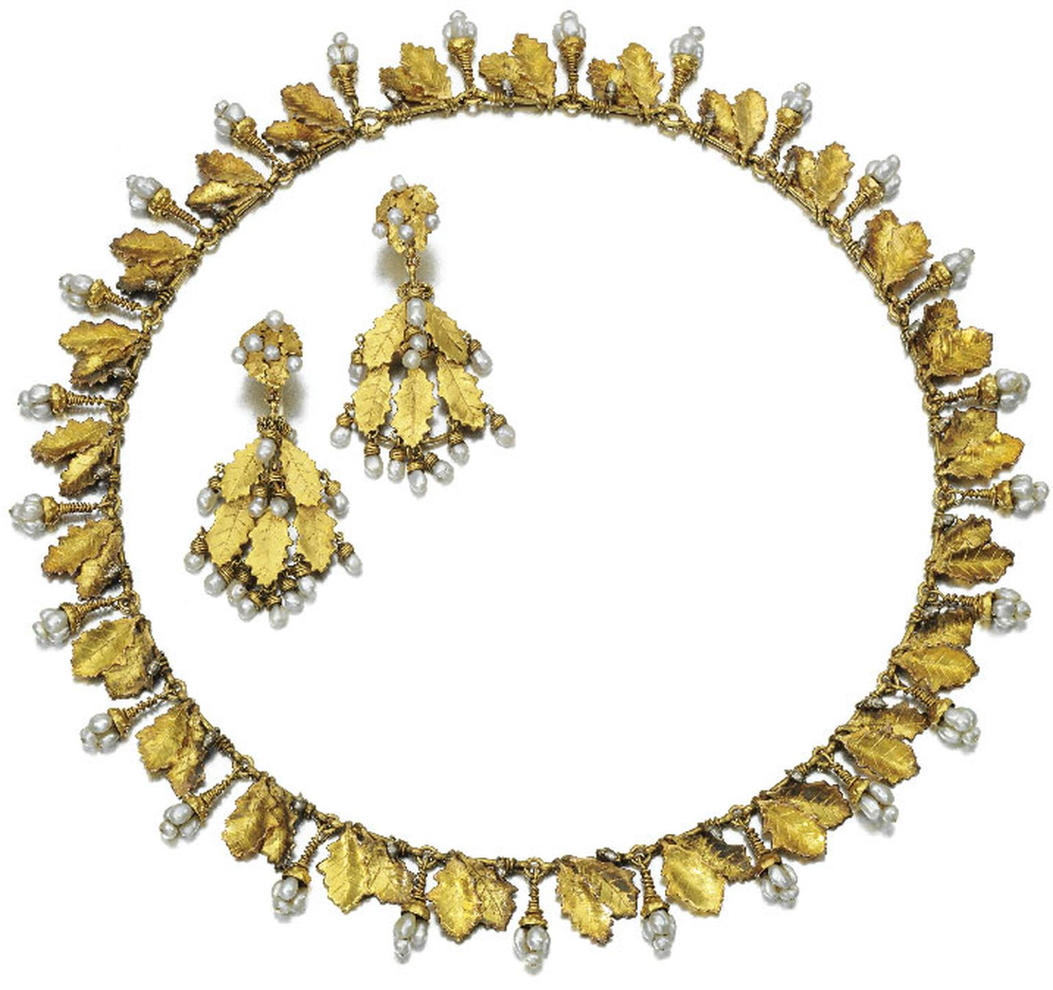 Sothebys Gold and Seed Pearl Demi Parure