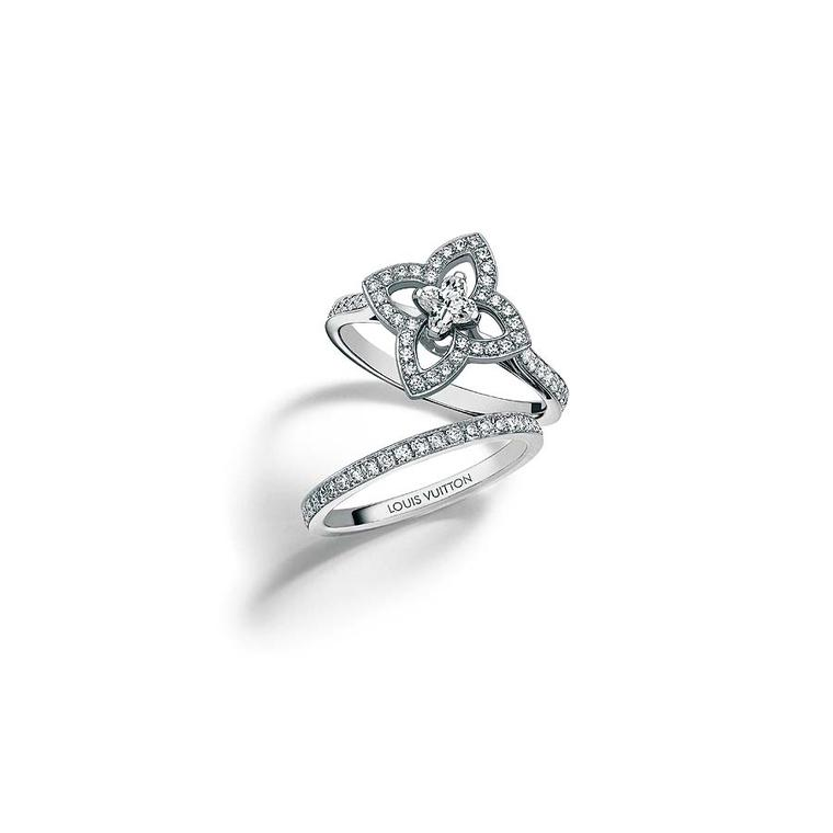 Louis Vuitton Eternite´ wedding band in white gold and diamonds and Les Ardentes solitaire engagement ring in white gold and diamonds, set with a Louis Vuitton Flower Cut diamond
