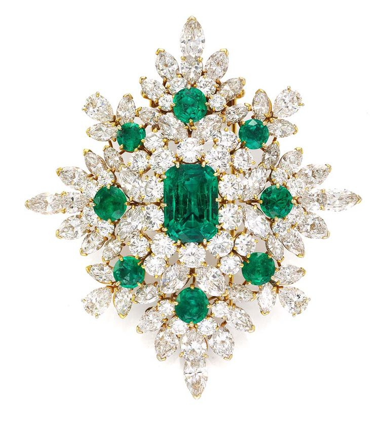 Van Cleefs & Arpels' magnificent emerald and diamond brooch (1967), Simon Teakle, Connecticut, was one of the vintage emerald jewels on display at Fine Art Asia 2013.