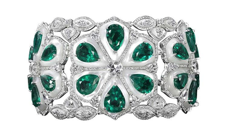 "Boghossian ""Mughal"" Colombian emerald and diamond inlaid mother-of-pearl bracelet"