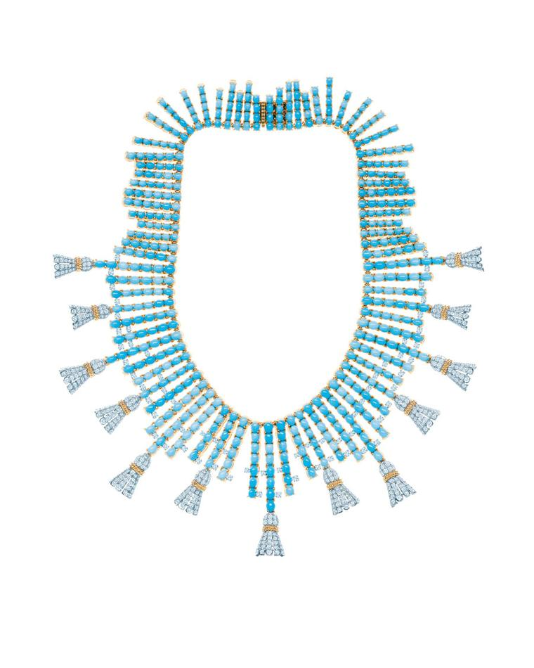 Tiffany & Co. Tassels necklace with turquoise stones and round diamonds set in yellow gold and platinum, inspired by an original design by Jean Schlumberger