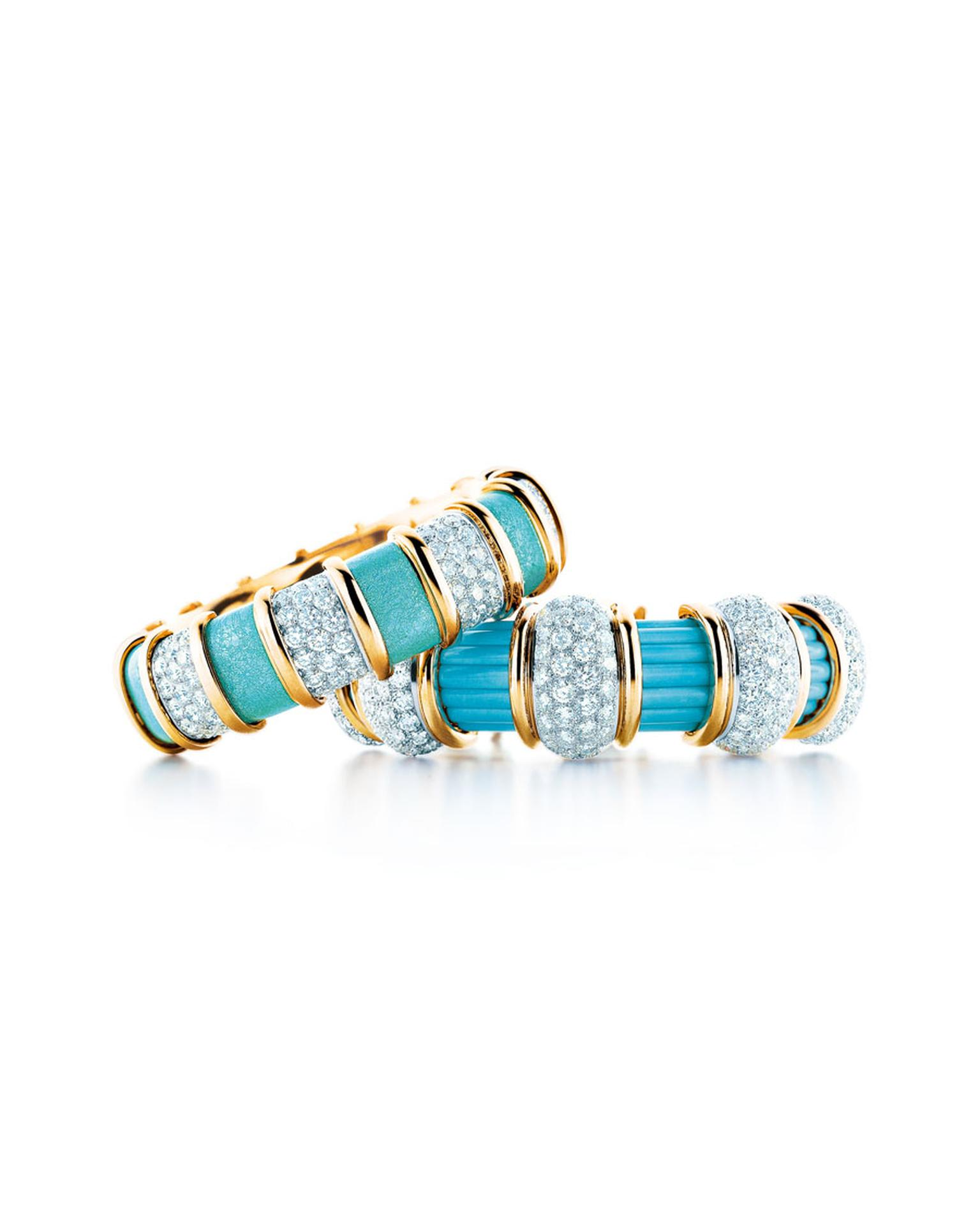 Tiffany & Co. turquoise, diamond and gold bangles, inspired by original designs by Jean Schlumberger