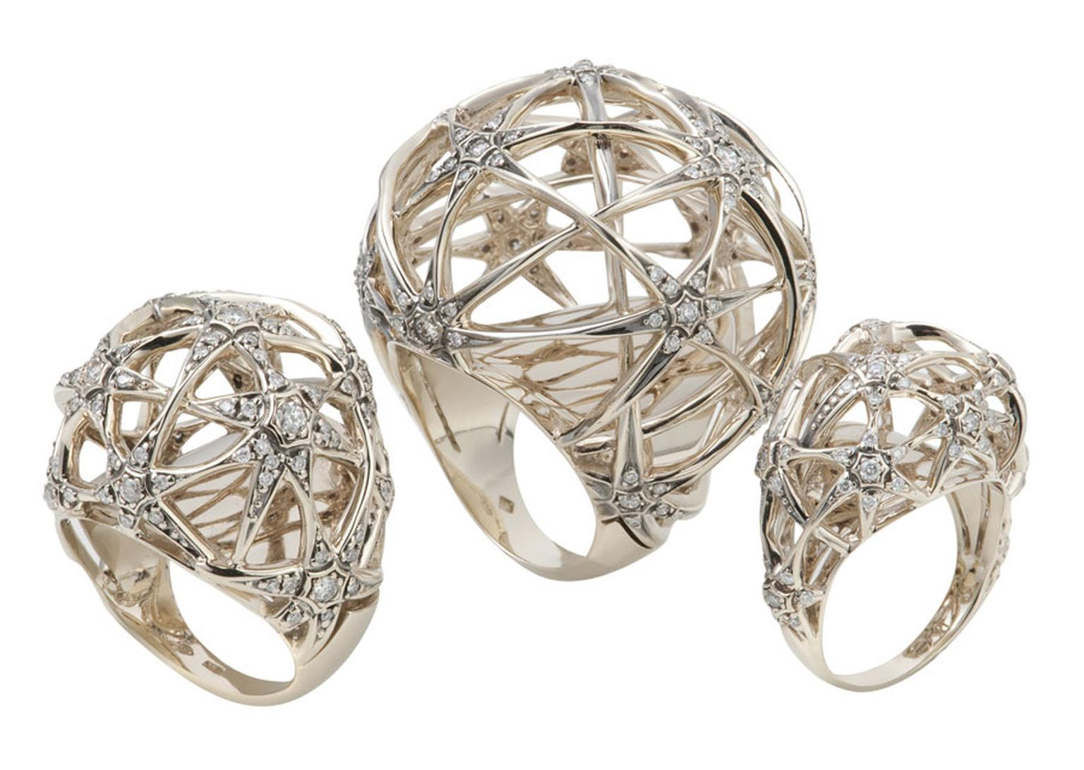 HStern Copernicus-Rings-in-Noble-Gold-and-diamonds.  £6,600, £ 8,900, £3,000