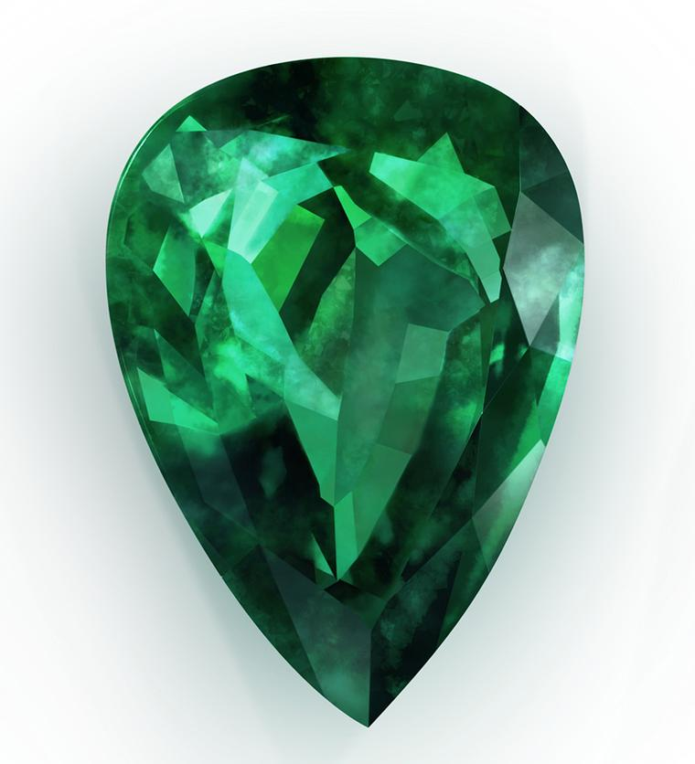 Gemfields emerald cut in tear drop cut