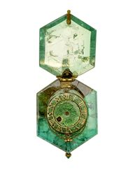 The watch, set into a single Colombian emerald crystal, dates from around 1600 and was discovered as part of the Cheapside Hoard in 1912.