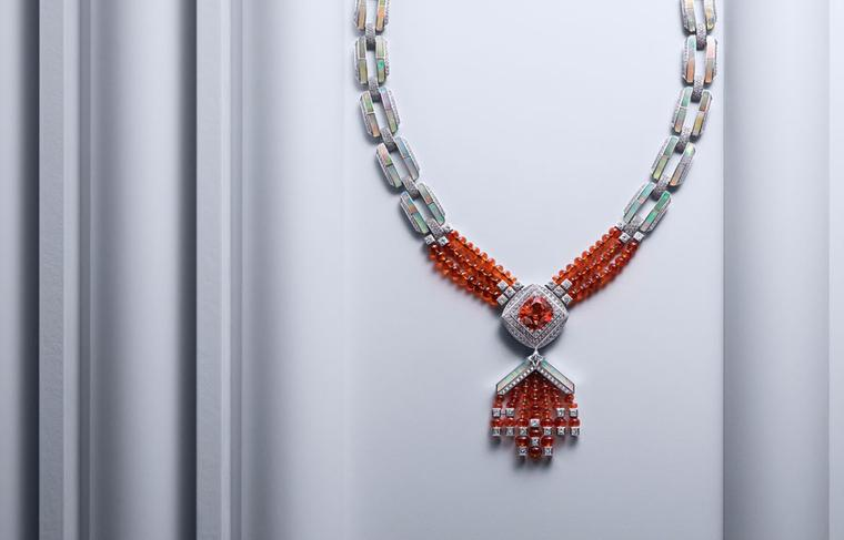 Louis Vuitton white gold Chain Attraction necklace with a 20.01ct Mandarin garnet and star-cut diamond, alongside opals, mandarin garnet beads and diamonds