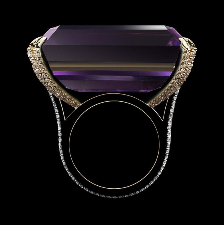 Alexandra Mor emerald-cut rich purple amethyst and diamond ring.