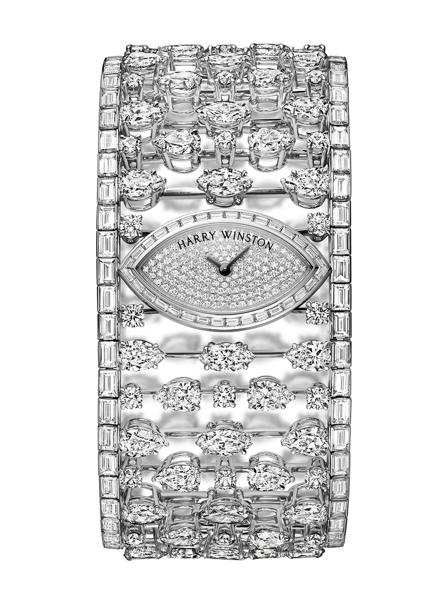 The one-of-a-kind Harry Winston Mrs Winston High Jewelery Timepiece is set with 230 diamonds (£POA).