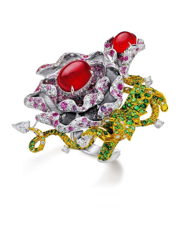 The Anna Hu Dragon Flower ring, set with two rubies of 6.71ct, pear-shape diamonds, white and yellow diamonds, and multi-coloured sapphires, worn by Scarlett Johansson to the 2011 Oscars.