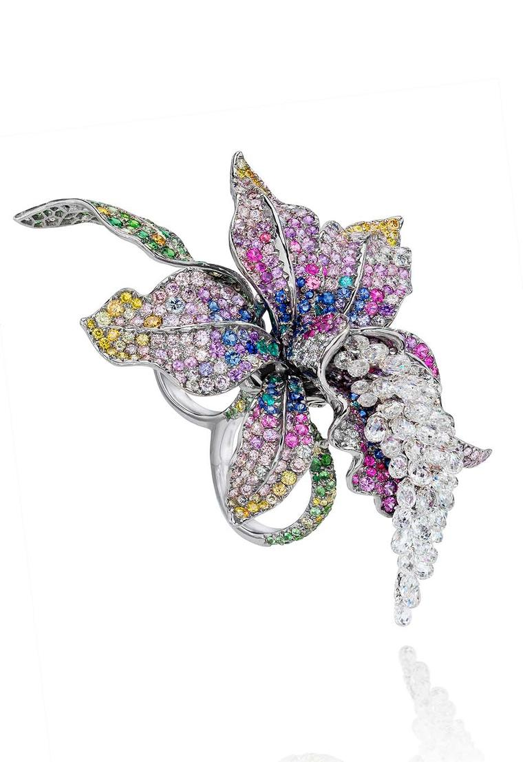 Anna Hu Enchanted Orchid Duo ring in white gold, set with 49 briolette diamonds totalling 12.19ct, multi-coloured sapphires, multi-coloured diamonds and Paraiba tourmalines.
