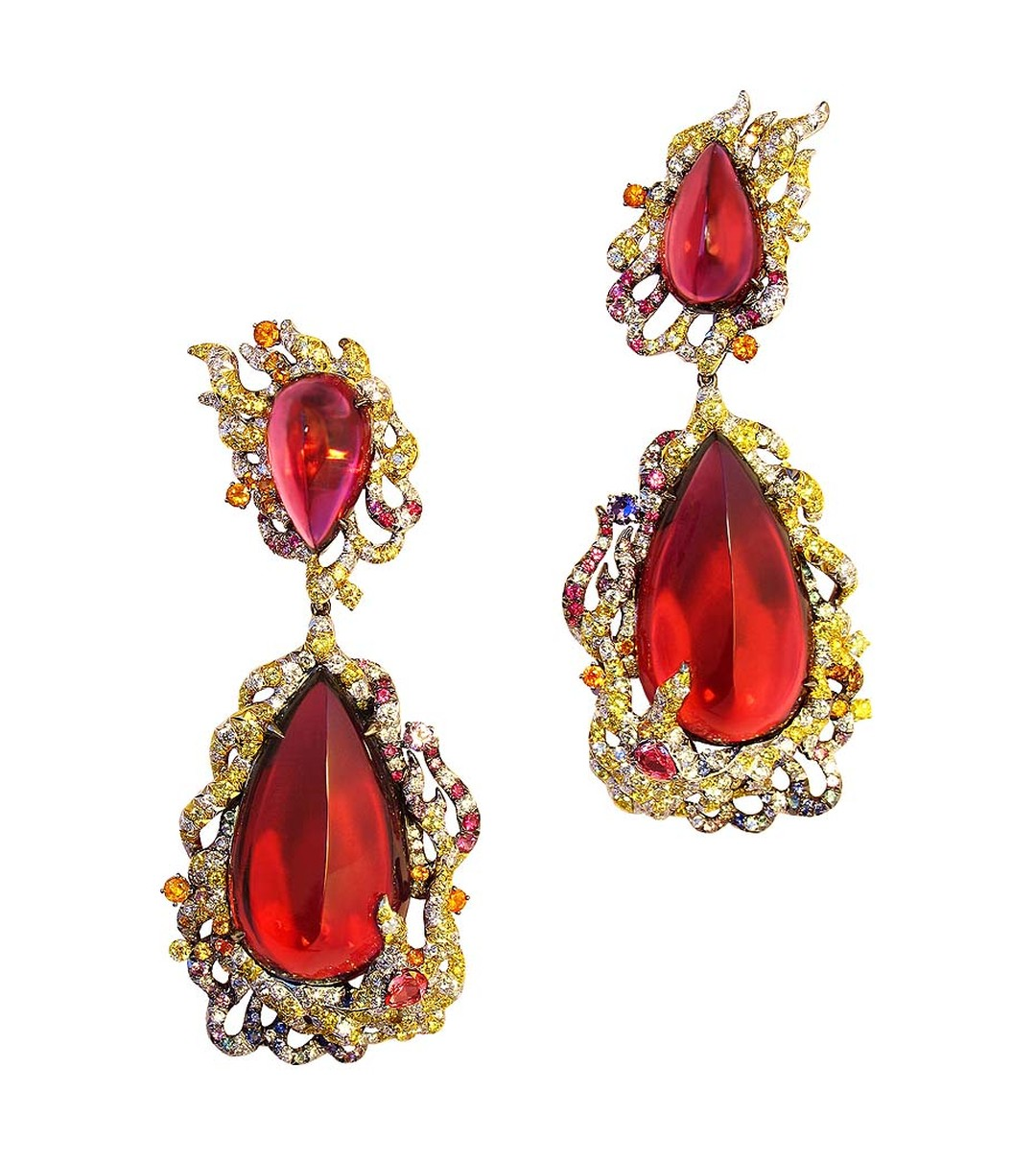 Anna Hu Fire Phoenix fine jewellery earrings in white and yellow gold, set with four rubellites totalling more than 120ct, diamonds, rubies, Paraiba tourmalines and multi-coloured sapphires.