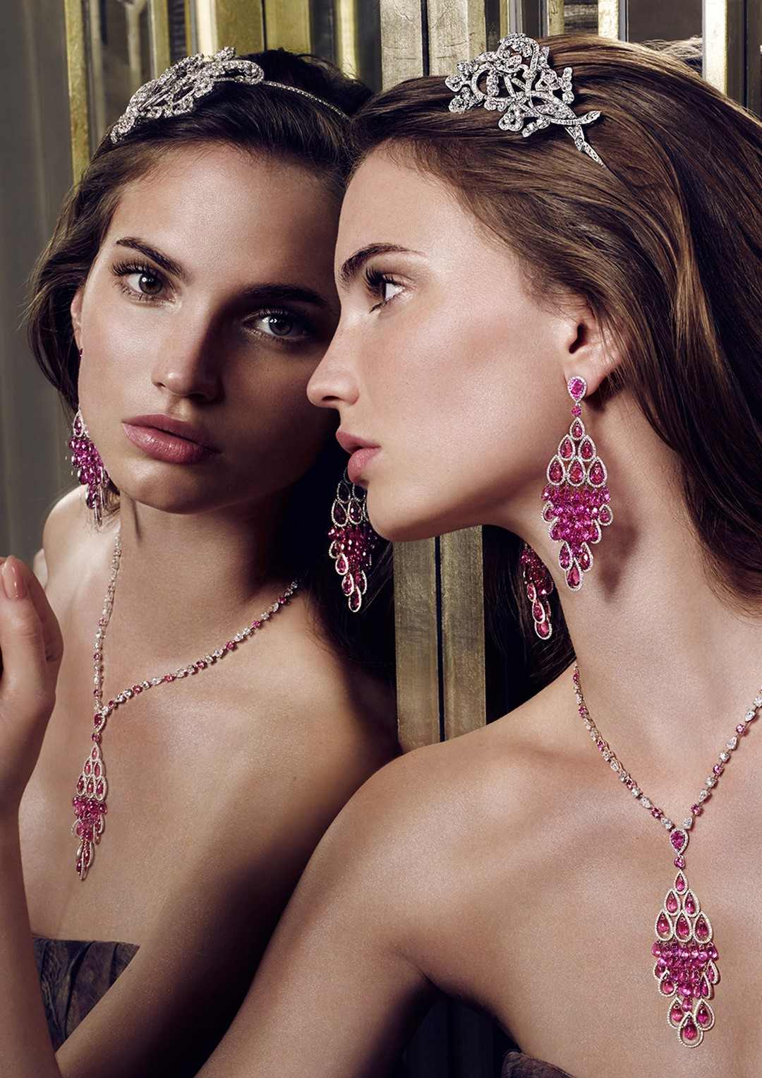 Graff Diamonds' floral motif Alice band, worn with briolette, pear shape and round  sapphire earrings and necklace, one of a collection of new diamond Alice bands that is tapping in to the trend for hair jewels.