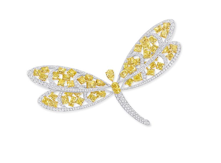 Graff Diamonds dragonfly brooch and hairclip, set with 76.90ct yellow and white diamonds.