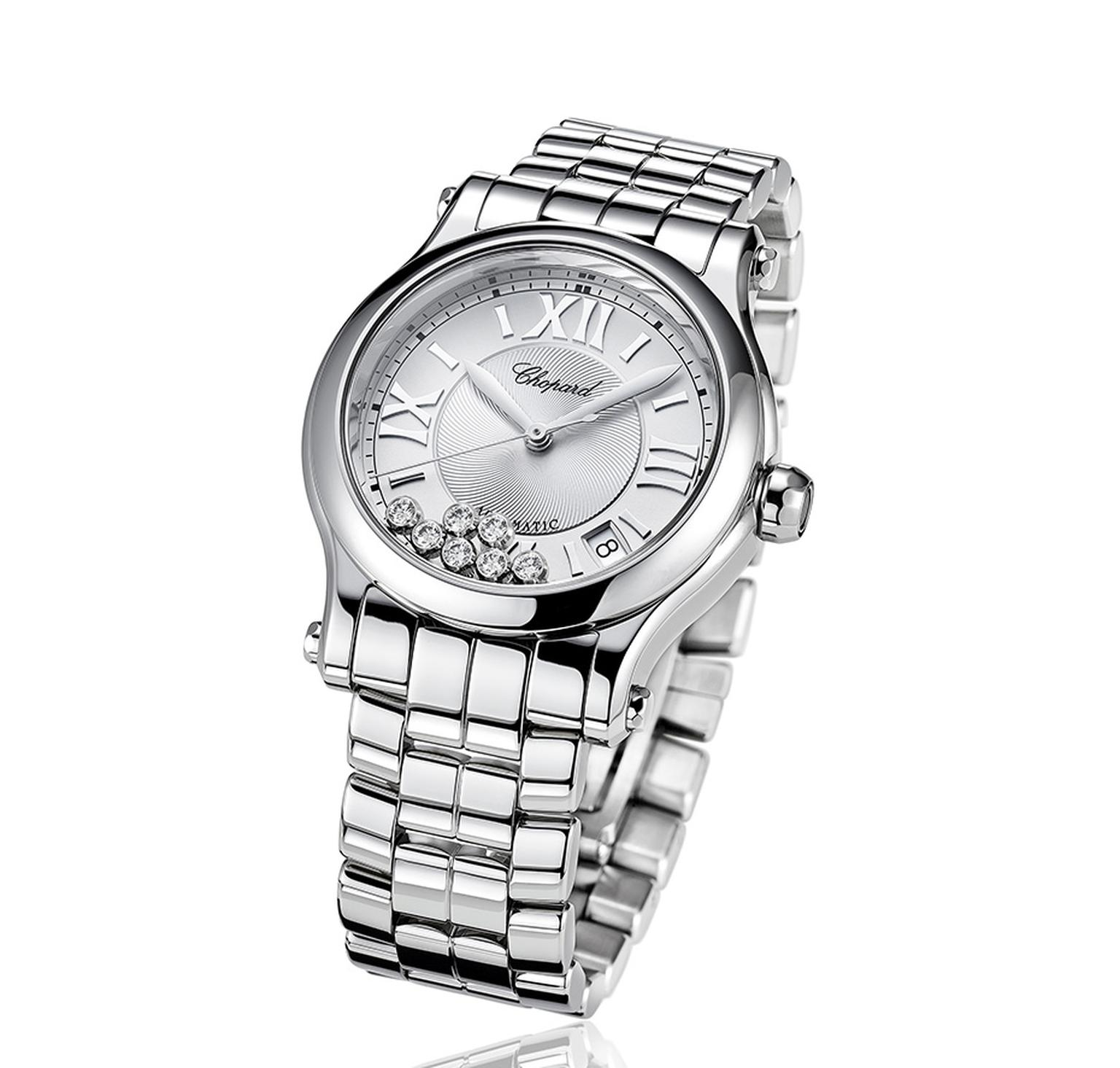 Chopard Happy Sport Medium Automatic watch in stainless steel.