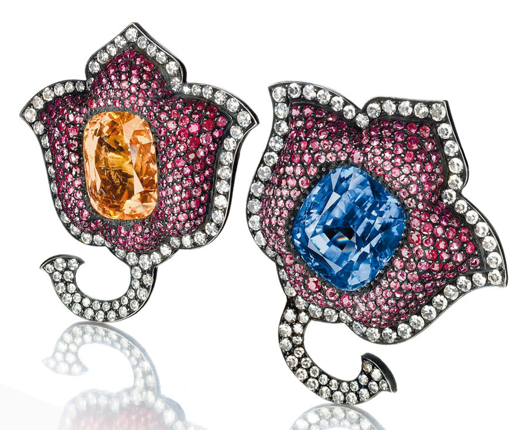 Christies Lily Safra A-pair-of-sapphire,-ruby-and-diamond-Moghul-tulip-flower-ear-clips