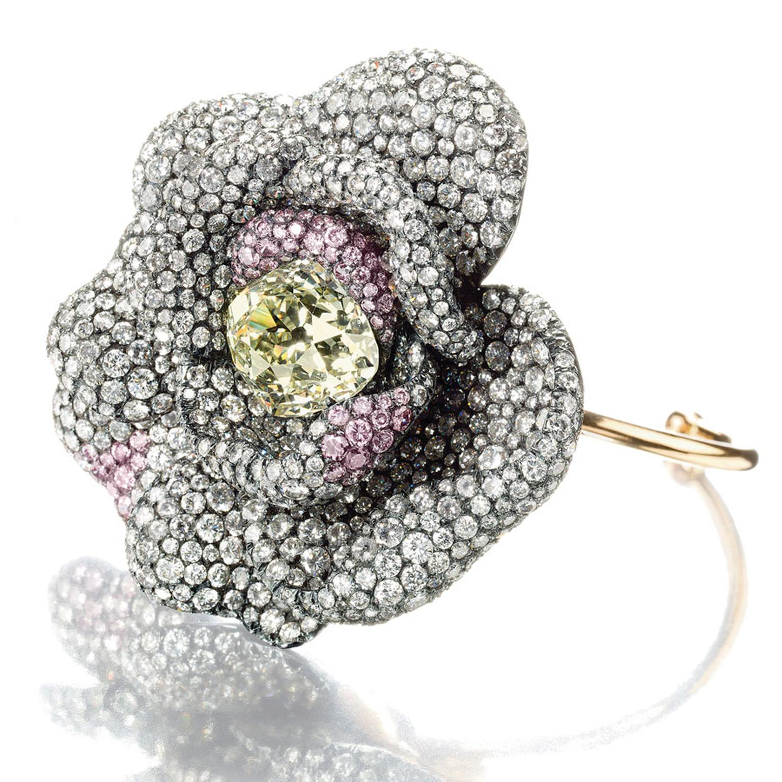 Christies Lily Safra. A-diamond-and-pink-diamond-Camellia-flower-bracelet
