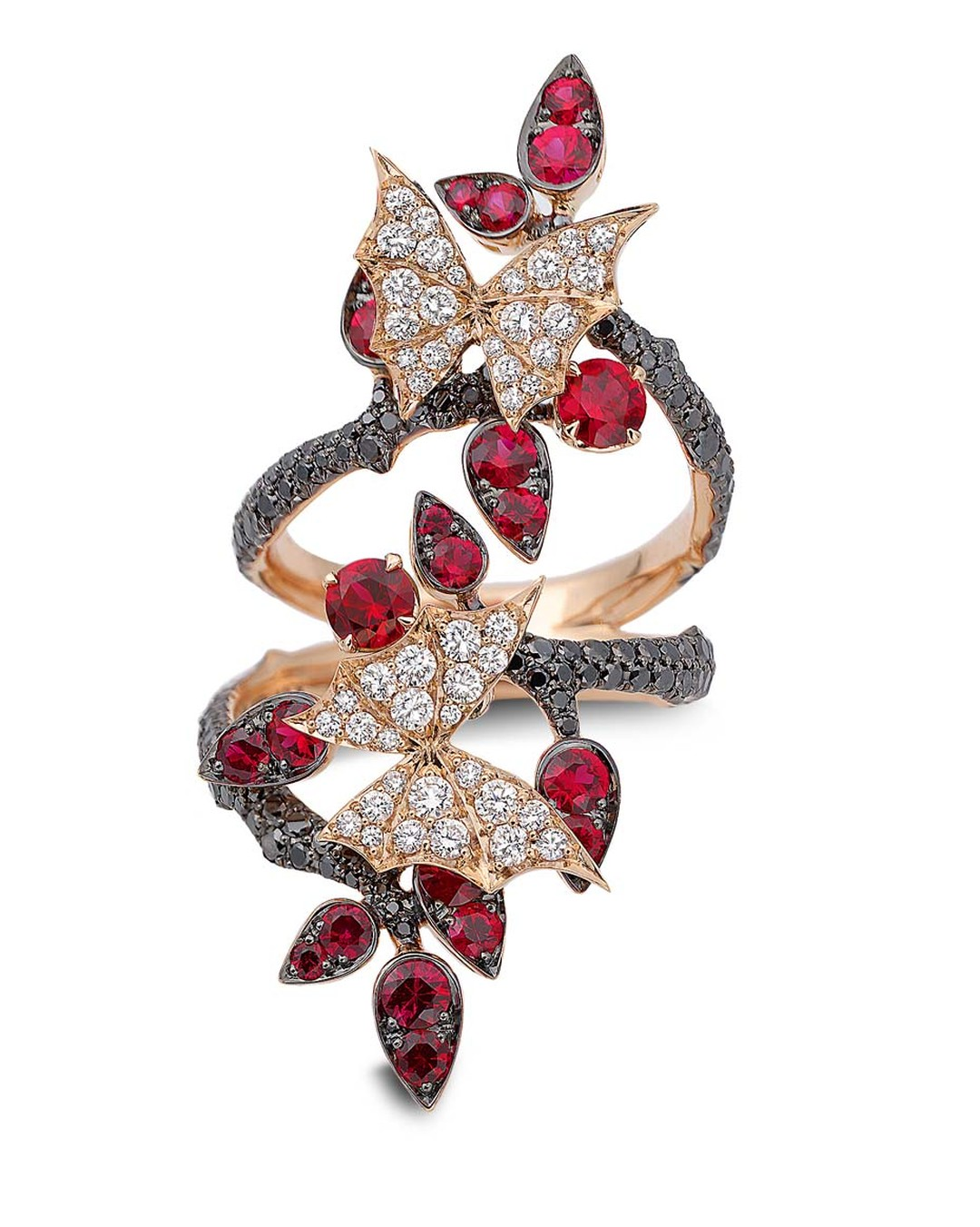 Stephen Webster 'Fly By Night' Couture long finger ring set in rose gold, with rubies and black and white diamonds.