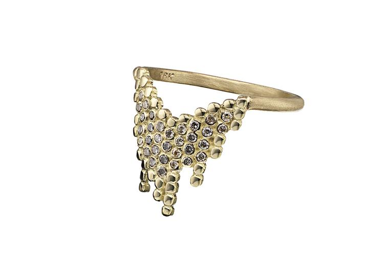 Maria Black Cascade gold ring with diamonds