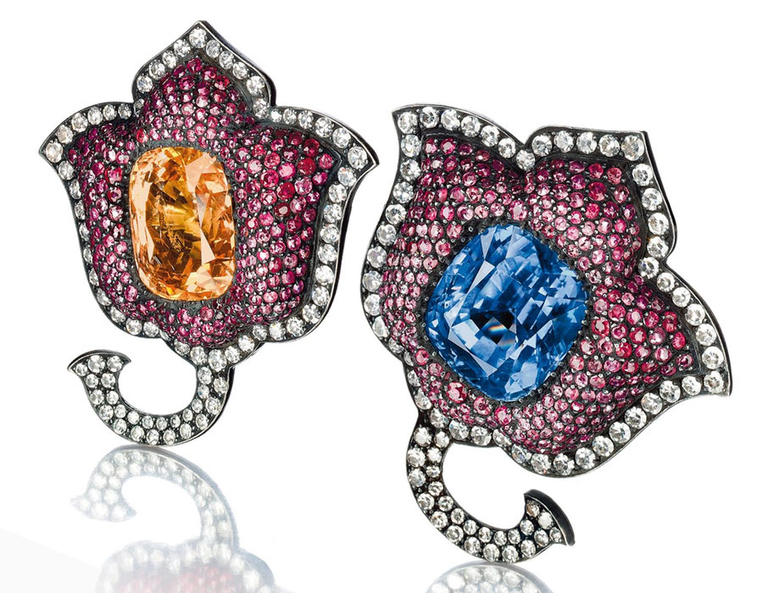 Christies A-pair-of-sapphire,-ruby-and--diamond-Moghul-tulip-flower-ear-clips