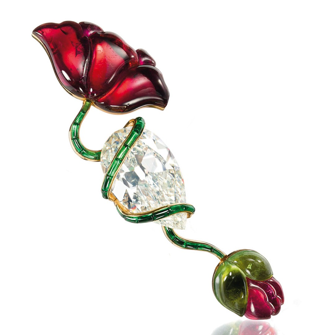 Christies Lily Safra A-diamond,-pink-and-green-tourmaline-Poppy-flower-brooch