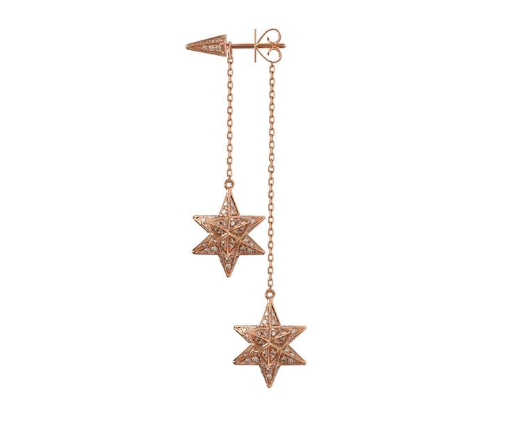 Noor Fares Merkaba Double Dress earrings in rose gold and diamonds (£8,535).
