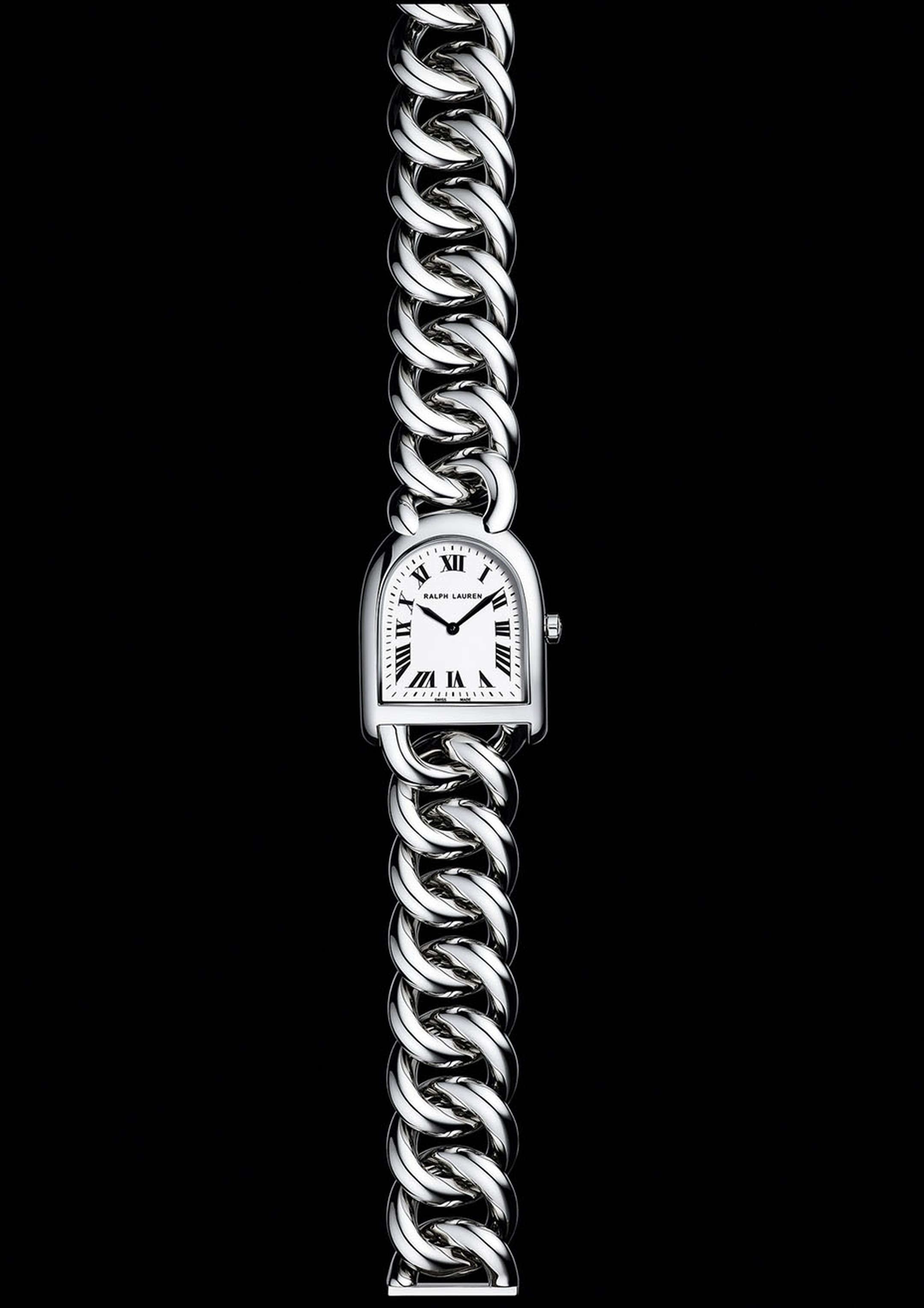 The new Ralph Lauren Stirrup Petit Link is, at just 23.3mm across, daintier than any Stirrup watch that has preceded it.