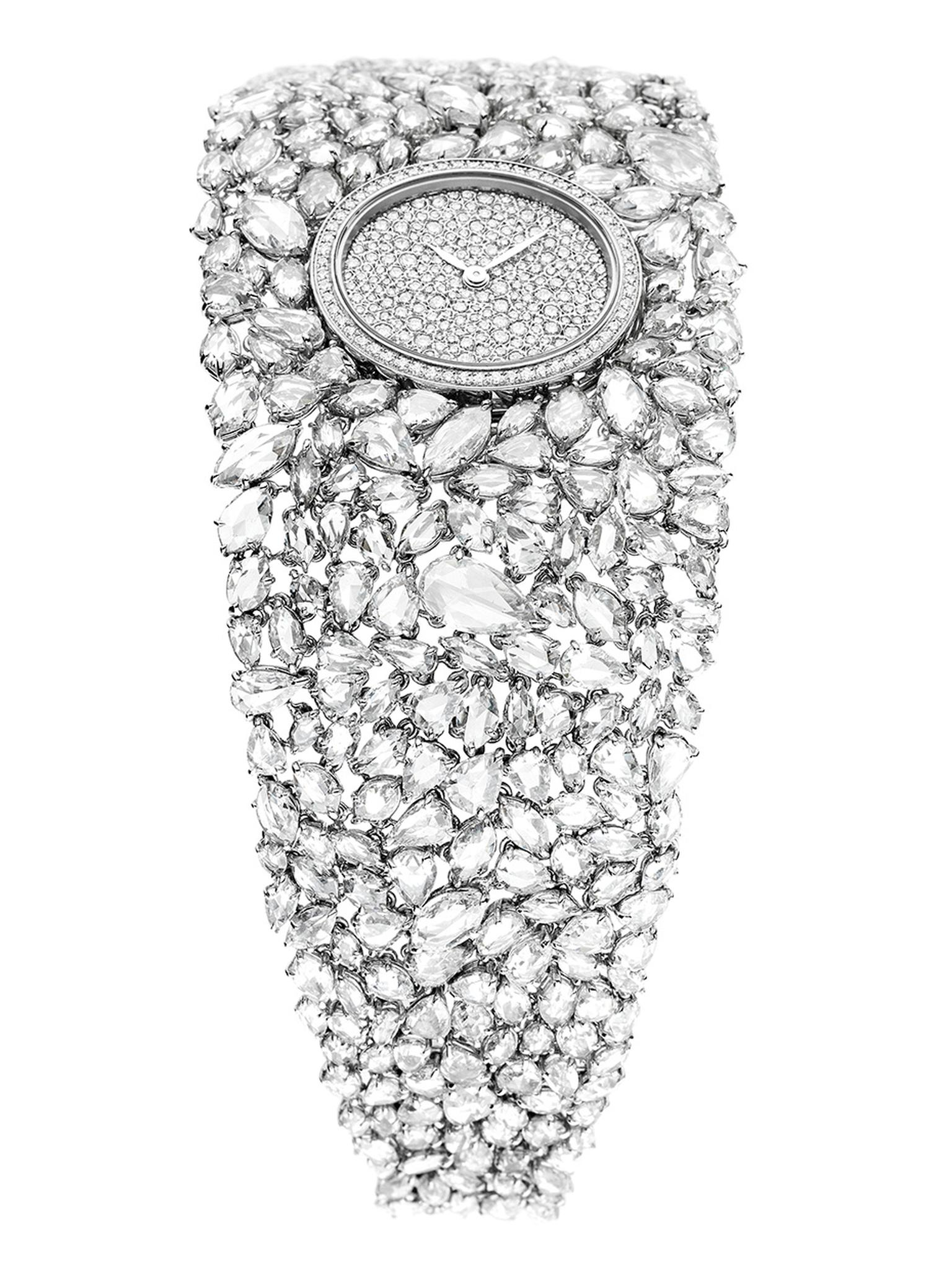 The white gold mesh into which the 352 rose-cut diamonds are set in DeLaneau's Grace Diamonds watch