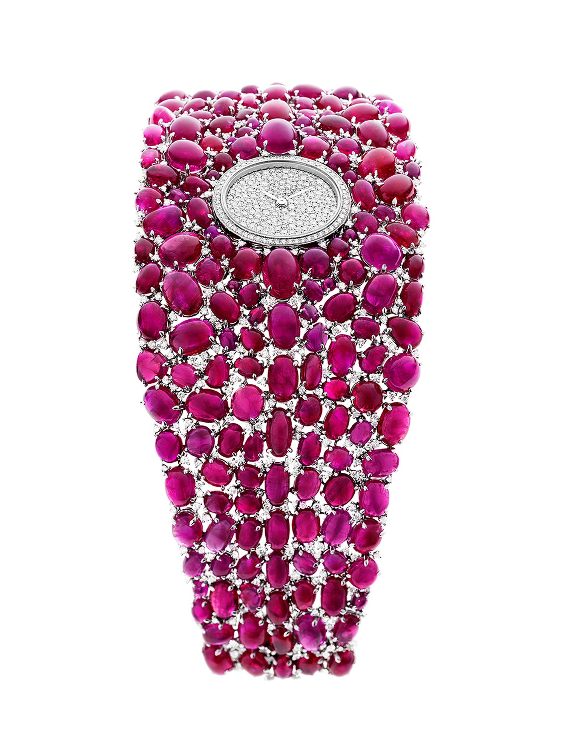 An incomparable statement in fine watchmaking for women, the cabochon-cut rubies on DeLaneau's Grace Ruby jewellery watch total 222.28ct.