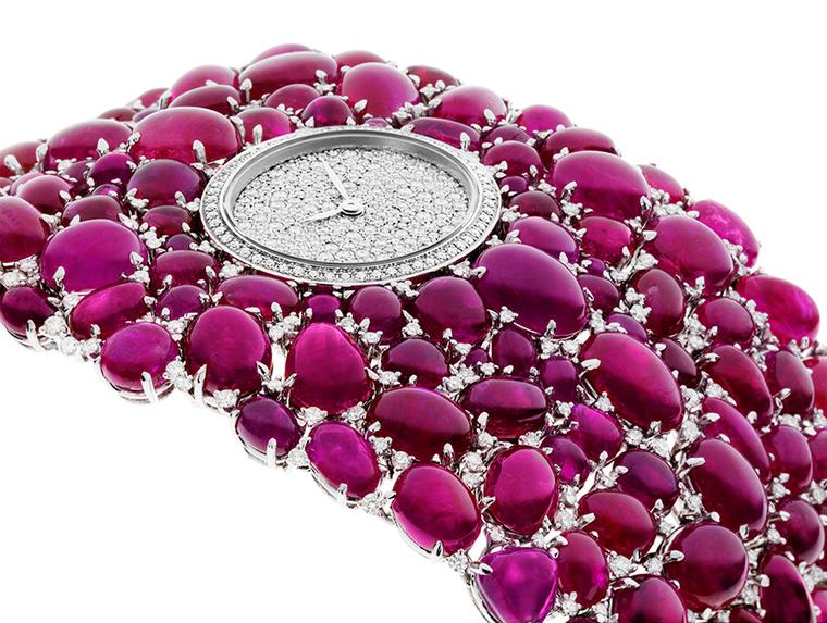 Showered with 214 Burmese cabochon-cut rubies, together with 419 diamonds used as accents in-between, the DeLaneau Grace Rubies watch bursts with rich colour.