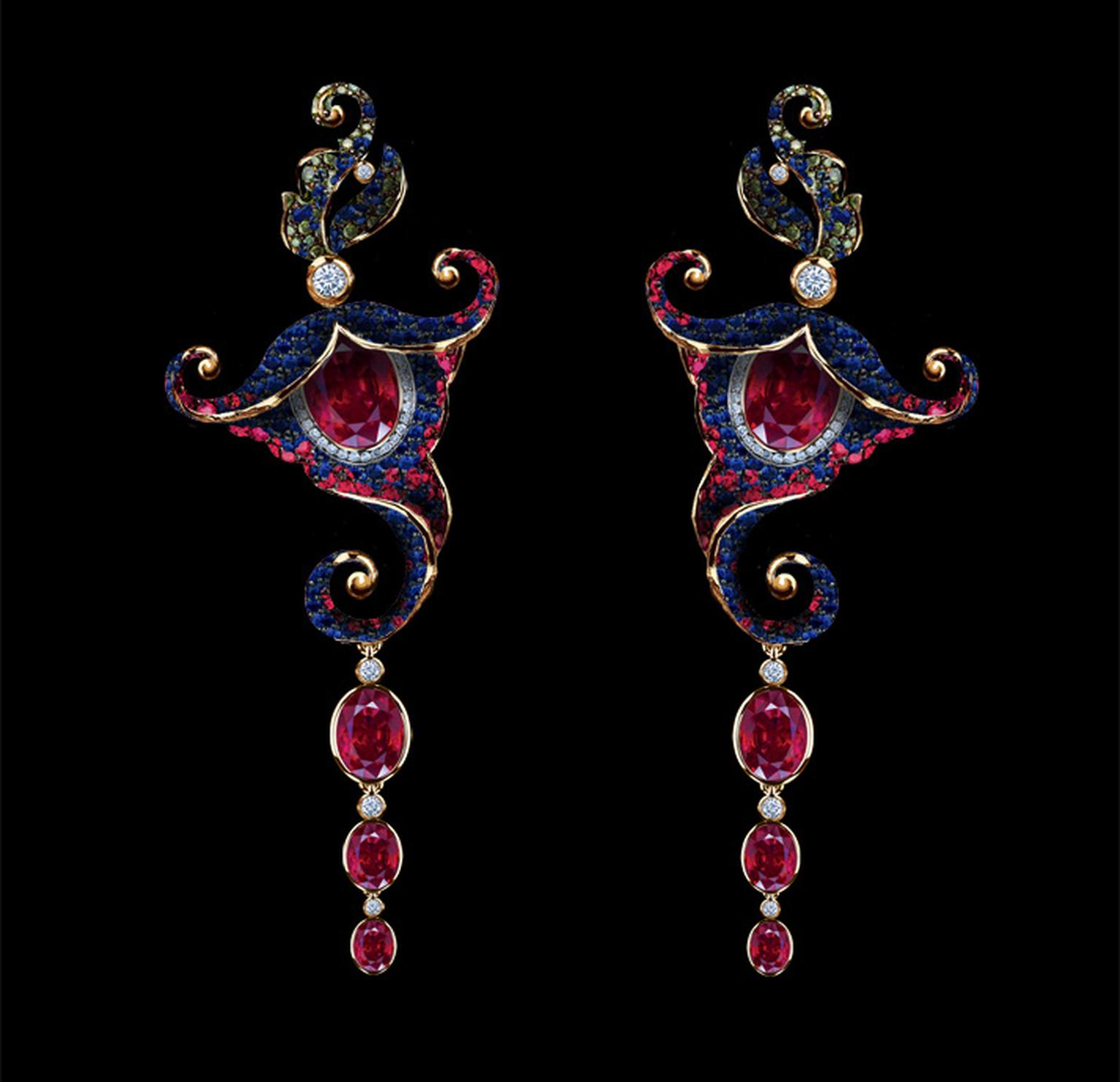 Jewellery Theatre Flower earrings in yellow gold from the Amaryllis Collection, set with rubies, sapphires and white, green and blue diamonds.