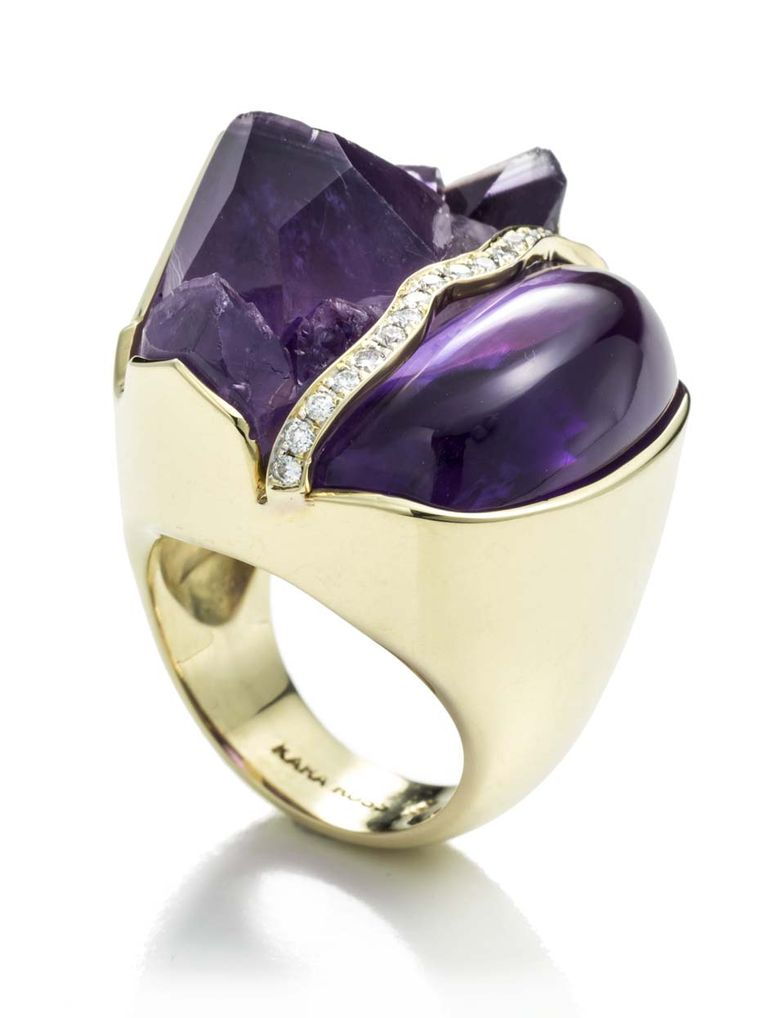 Kara Ross Petra split ring in yellow gold with raw and smooth amethyst and diamond ($7,500).